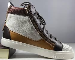 italian designer brand new shoes high top sneakers women men casual shoes genuine leather lace up brown double zipper send with box and bag walking shoes