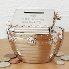 personalised silver plated noah s ark money box