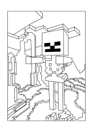 Small Picture Skeleton Minecraft Coloring Pages Free Printable Minecraft