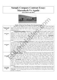 Sample Compare Contrast Essay Marrakech Vs Agadir Esl