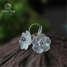 Lotus Fun <b>925 Sterling Silver Natural</b> Crystal Flower Drop Earrings ...