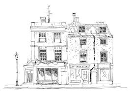 architectural drawings of famous buildings. Download Old English Town Houses With Shops On The Ground Floor. Sketch Collection Famous Buildings Architectural Drawings Of