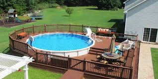 two tier all surrounds off have above ground pool deck ideas multi
