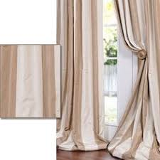 eff light brown tan striped faux silk taffeta curtain panel defined by a unique sheen and fine weave this exclusive striped faux silk taffeta curtain