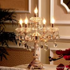 2018 restaurant transpa crystal candlestick big table light large wedding candelabra gold candle holders led hotel crystal mirror table lamp from