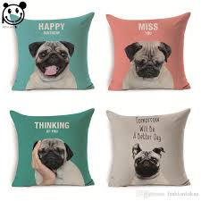 peiyuan animal pug dog pillow case new design custom linen print square cushion cover lounge chair pads outdoor furniture chair cushions from fashionfokus