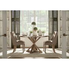 homehills nocona grey oak steel banded round trestle base dining table