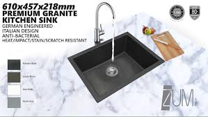 Granite Single Bowl Kitchen Sink Grande 610mm German Engineered Premium Granite Single Bowl