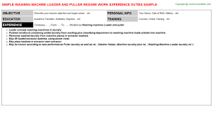 Washing Machine Loader And Puller Resume Resumes Templates