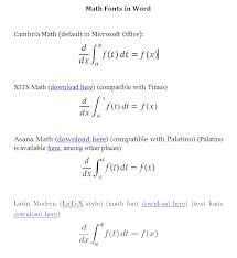 math fonts
