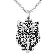 luckyjewelry owl urn necklaces for ashes cremation jewelry for men memorial