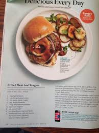 grilled meatloaf burgers better homes and gardens may 2016 secret ing peach preserves