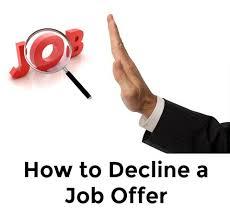Decline An Offer Sample Decline Job Offer Letter