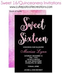 Invitations Quinceanera Pink Watercolor Sweet 16 Invitations Quinceanera Invitations