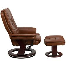 contemporary brown vintage leather recliner and ottoman with swiveling mahogany wood base 1