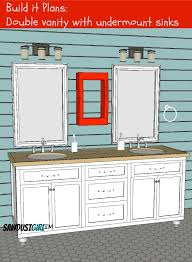 Double Vanity With Center Drawers Free Plans Sawdust Girl Interesting Bathroom Cabinet Design Plans