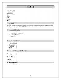 Resume Normal Format Simple Resume Template