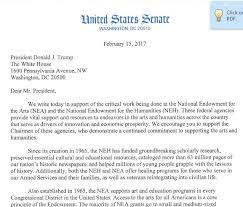 Two Dozen Senators Send President Trump NEA/NEH Letter   Americans ...