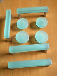 blown glass cabinet knobs. reserved by bgisland on etsy - knobs and pulls together in the right color. blown glass cabinet g
