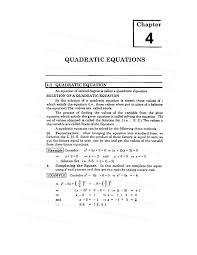 math notes quadratic equations chapter 4 quadratic equations exercise 1