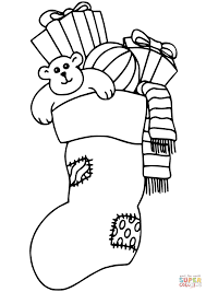 Small Picture Christmas Stocking Filled with Gifts coloring page Free
