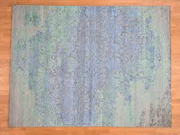 7 8 x10 silk and oxidized wool with pastel color hand knotted oriental rug cwr40543