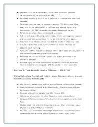 Medical Technologist Resume Idea Photographic Gallery Cover Letter