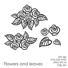 zoom on flowers wall art decor vector with flowers and leaves eps svg dxf ai vector digital clipart