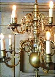 large size colonial brass chandelier big solid light fixture w arms aged antique dutch full size