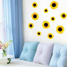 Yellow, Pink & Red Poppy Wall Stickers flower wall stickers Sunflowers Wall  Stickers for Decorating a Room creates sweet home ...