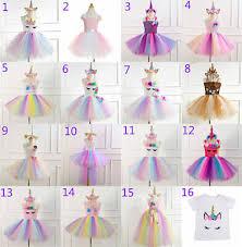 Kids <b>Flower Girls</b> Party <b>Unicorn Tutu Tulle</b> Fancy Dress Costume ...