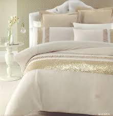 full image for bianca gold beige golden sequins queen king quilt doona duvet cover set white