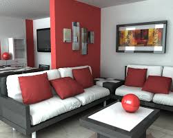 black furniture decor. Living Room For Apartment With Black Furniture And White Foam Using Red Wall Paint Color Combination Ideas Decor