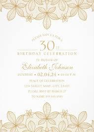 golden lace 30th birthday invitations elegant luxury invitation templates
