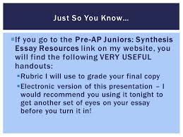 synthesis essay peer editing  if you go to the pre  if you go to the pre ap juniors synthesis essay resources link on