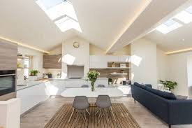 the wonderful new open plan living space upstairs