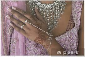Plakát Nevěsta Ruka S Henna Tetování A Bižuterie Indická Svatba