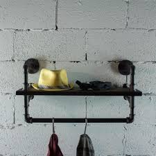 os home and office furniture black steel pipe with reclaimed aged wood shelf and clothing rack 1 p27 bs the home depot