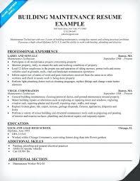 Maintenance Technician Resume Examples Apartment Maintenance