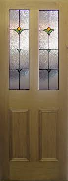 oak or pine 4 panel door with flower design leaded safety glass available in clear or textured obscured for privacy safety glass