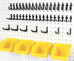 Pegboard storage bins Baskets Image Unavailable Amazoncom Amazoncom 56 Pegboard Storage Organization Kit Yellow Bins And Peg