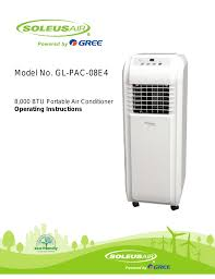soleus air 8 user manual 16 pages also for 000 btu portable air conditioner gl pac 08e4