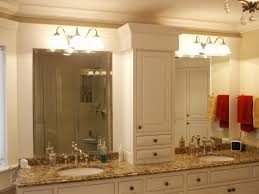 frameless bathroom vanity mirror. Bathroom : Furniture Vanity Mirrors And White Stained Wooden With Cabinet Storage Using Brown Granite Countertop Round Frameless Mirror