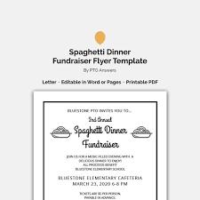 Editable Customizable Spaghetti Dinner Fundraiser Flyer Ticket Template Set Pta Pto Church Other Groups Diy Template
