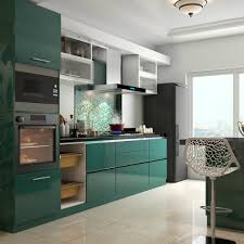 Best Modular Kitchen Designs Glossy Green Cabinets Infuse Vitality To This Kitchen