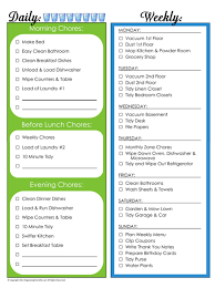 Daily Chores Checklist Daily Chores List Under Fontanacountryinn Com