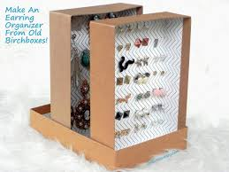 diy upcycled birchboxes into earring organizer