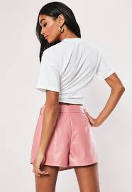 missguided pink ring belt detail faux leather skirt lyst view fullscreen