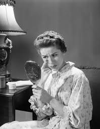 woman holding mirror. Brilliant Woman Detail Of 1950s 1960s Woman In Nightgown Holding Mirror Look At Eye  Wrinkles Aging Beauty Cosmetic Intended Woman Holding Mirror