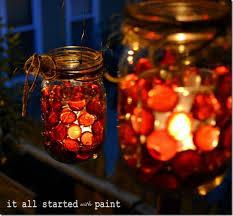 mason jar fall votive red beads